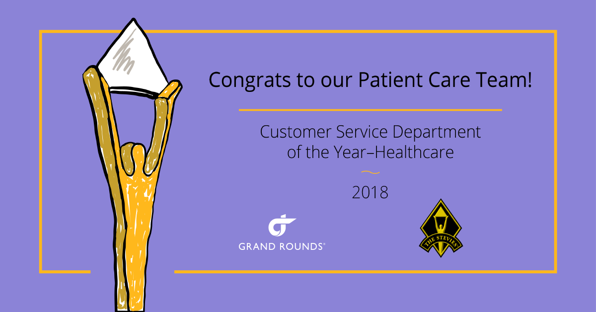 Congrats to our patient care team. Customer service department of the Year Healthcare
